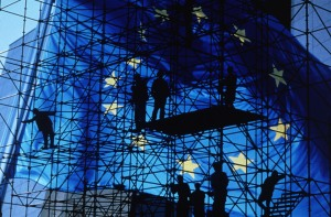 European flag on metal scaffolding background CE | | P-002746/00-4 | 1999