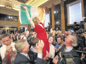 Bridget Laffan, of the Ireland For Europe campaign, celebrating the Yes side's referendum victory in Dublin Castle on Saturday. Photograph: Brenda Fitzsimons