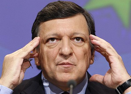 European Commission President Barroso holds a news conference on the financial crisis in Brussels